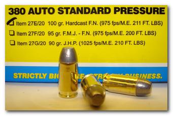 380 Auto Standard Pressure Pistol and Handgun Ammo