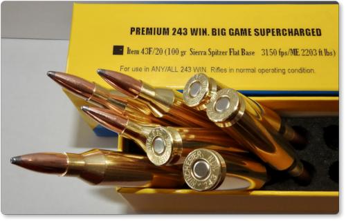 PREMIUM 243 WIN  BIG GAME SUPERCHARGED Ammo Rifle & Gun Ammunition